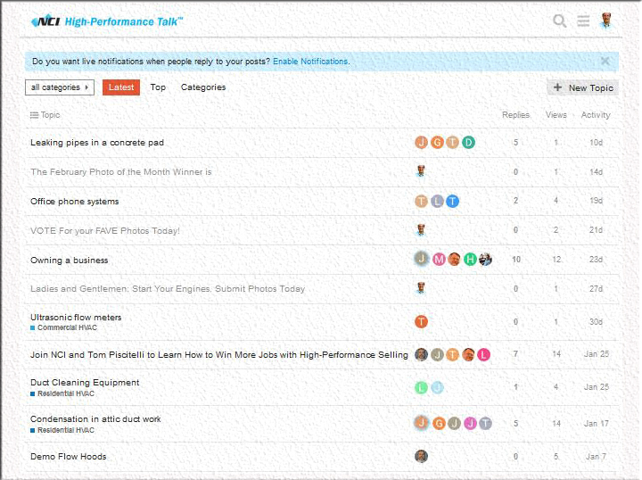 This is the High-PerformanceTalk main page that shows all the discussion threads.