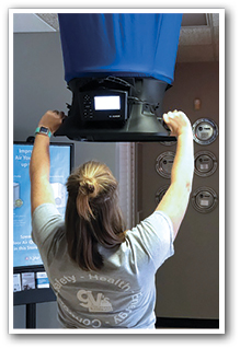 GV's Dawn Mroczek demonstrates using a flow hood during in-house training.
