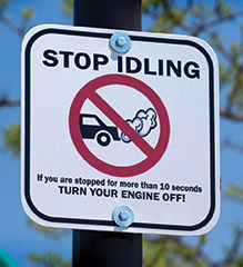 In a CO safety culture, look for situations where idling vehicles are a source of danger