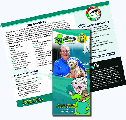 Kennihan customer communications includes print brochures and newsletters