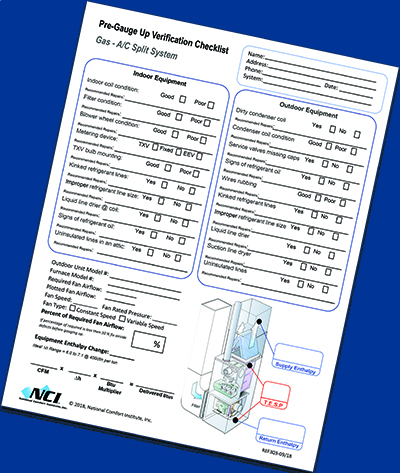 Use this checklist before you begin the refrigerant charging process